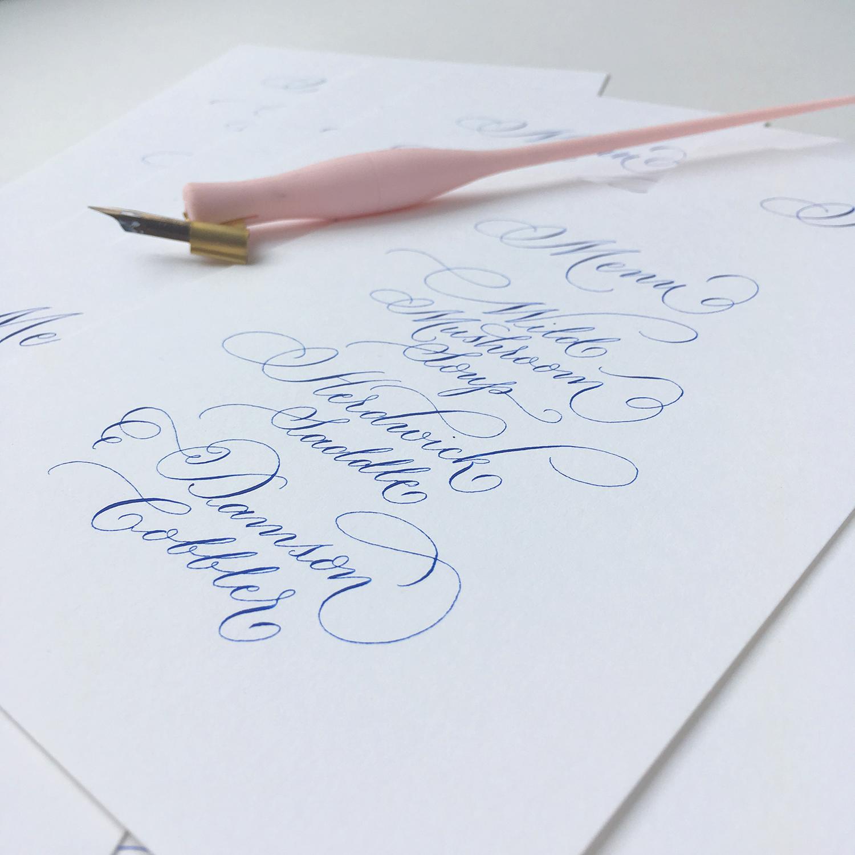 elegant flourished modern calligraphy uk wedding menus