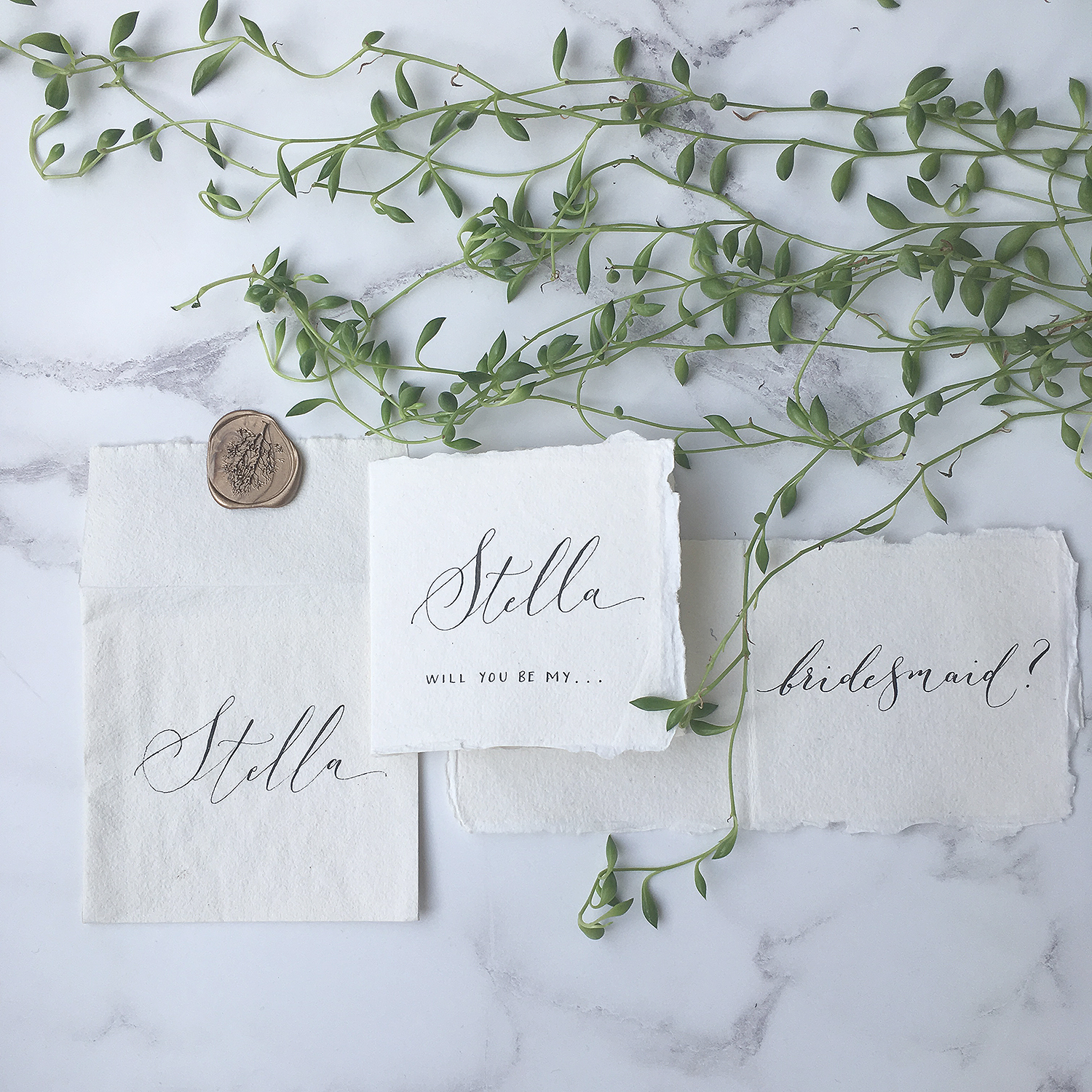 modern organic calligraphy will you be my bridesmaid
