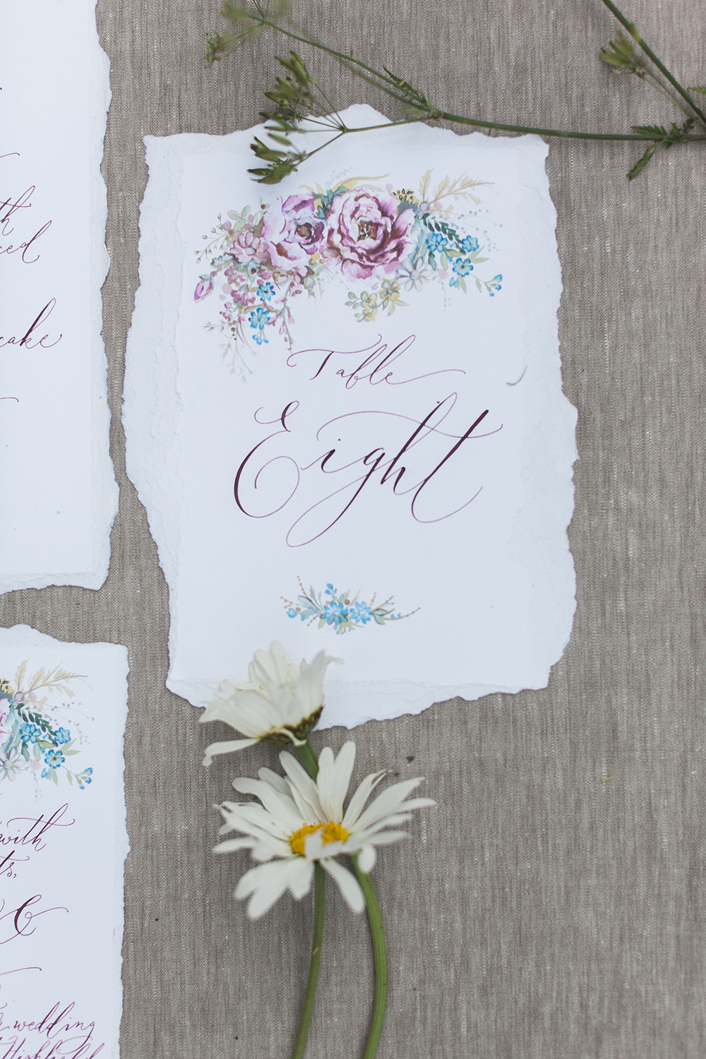Summer wedding stationery with floral illustrations