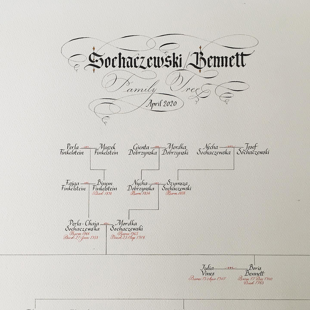 family tree calligrapher UK Claire Gould By Moon and Tide