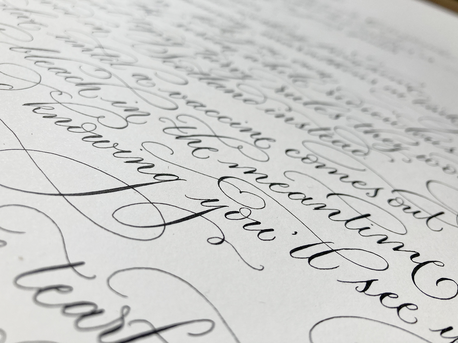 Close up detail Irvine Welsh calligraphy project