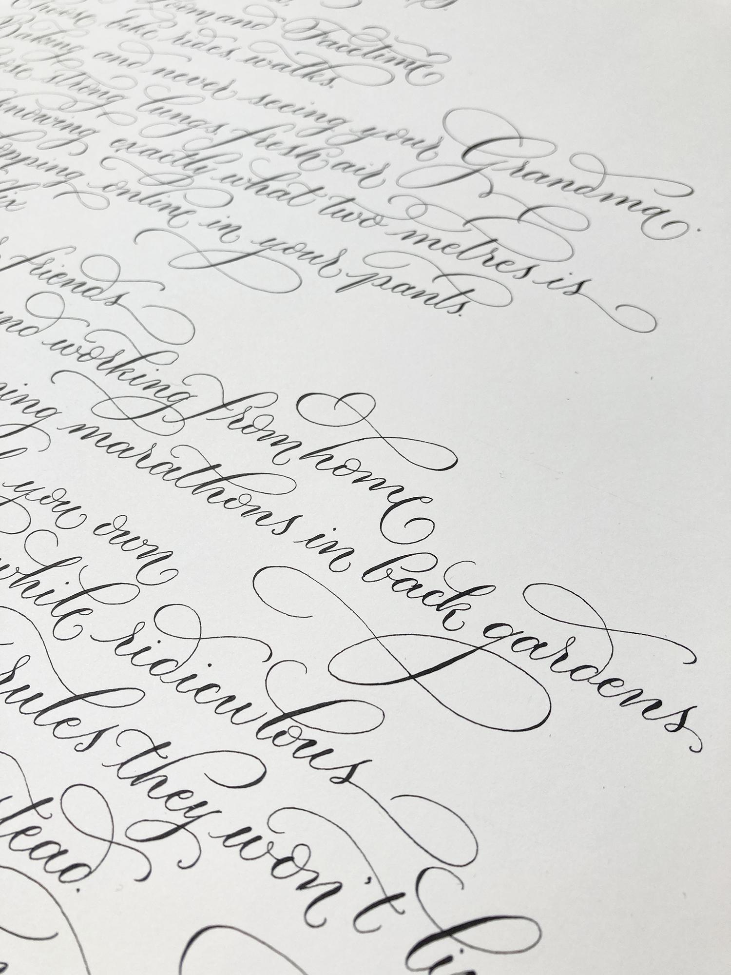 Handwritten calligraphy project UK calligrapher 2020