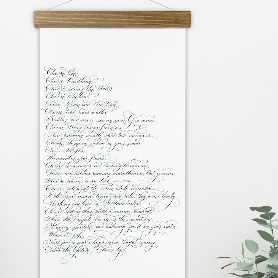 Calligraphy wall hanging Trainspotting