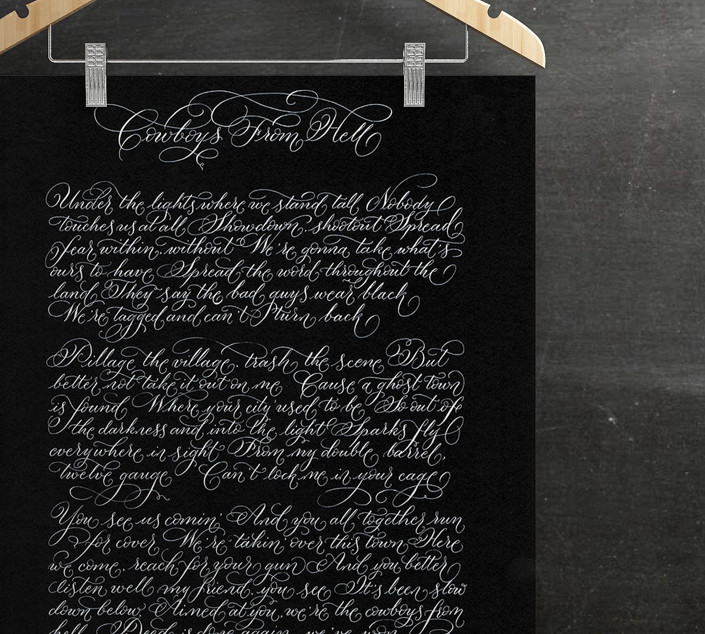 Alternative Christmas gift idea for men song lyrics in hand calligraphy UK