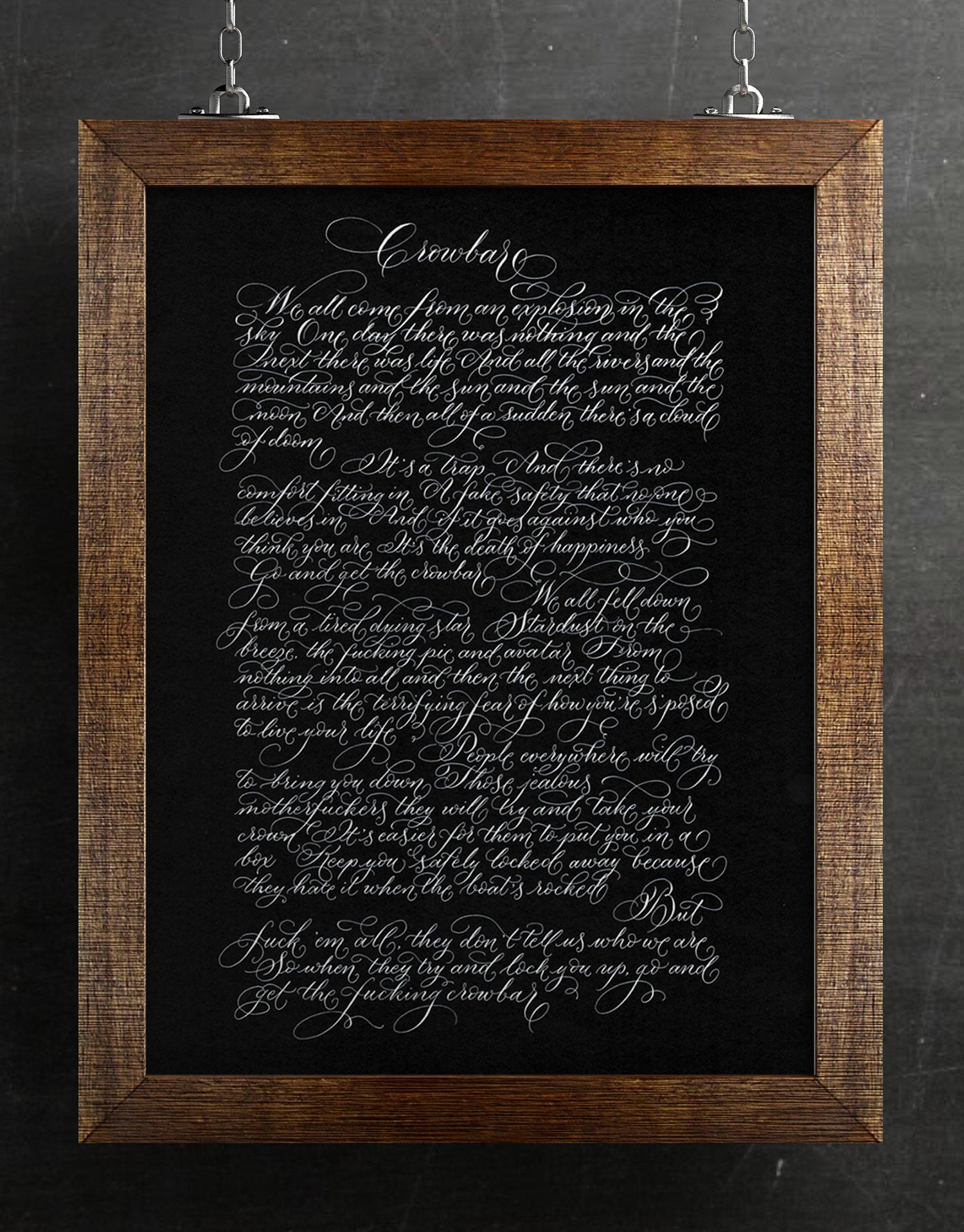 Unusual Christmas gift ideas for men handwritten song lyrics in calligraphy