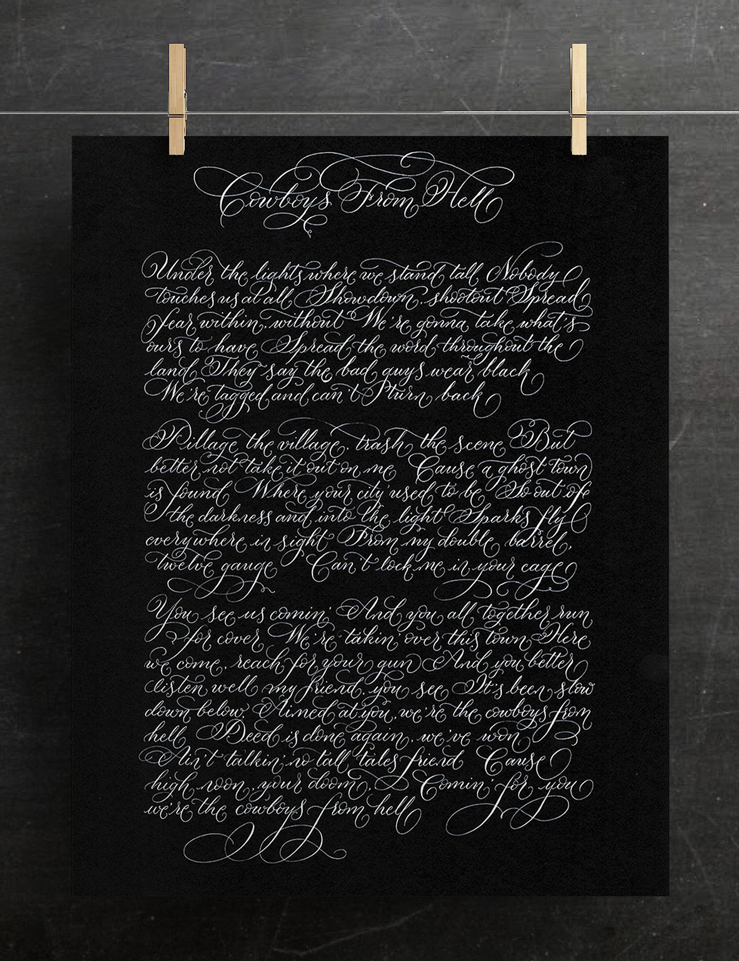 Dark calligraphy commission alternative artwork gift for men