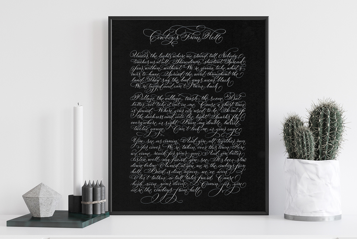 Your man's Christmas present – alternative song lyrics in striking calligraphy